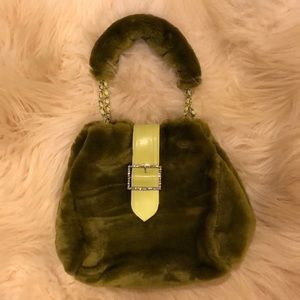 Vegan faux fur olive green purse/handbag